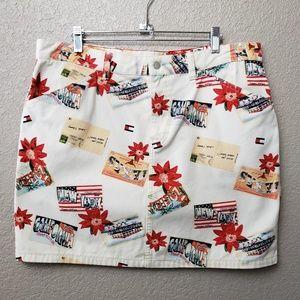 Tommy Hilfiger License Plate Vacation Denim Skirt